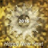 新年快乐2016现代盖子 向量例证