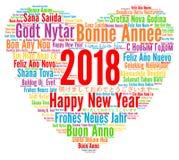 新年快乐2018年用不同的语言 免版税库存图片