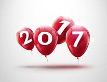 新年快乐2017红色气球设计 与红色的贺卡迅速增加庆祝装饰 免版税库存图片
