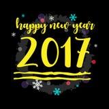 新年快乐2017黄色印刷传染媒介艺术 库存图片