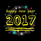 新年快乐2017黄色印刷传染媒介艺术 图库摄影