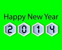 新年快乐2014绿色数字式 库存图片