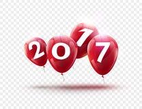新年快乐2017蓝色气球设计 与蓝色的贺卡迅速增加在透明的庆祝装饰 库存照片