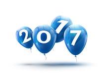 新年快乐2017蓝色气球设计 与蓝色的贺卡迅速增加庆祝装饰 免版税库存图片
