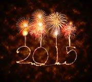 新年快乐- 2015年闪烁发光物 库存图片