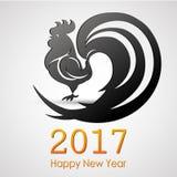 新年快乐2017年 雄鸡剪影 贺卡设计 传染媒介EPS 10 免版税图库摄影