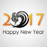 新年快乐2017年 雄鸡剪影 贺卡设计 传染媒介EPS 10 免版税库存图片