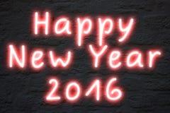 新年快乐2016霓虹灯 库存图片