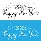 新年快乐2017年题字 与曲线的手拉的字法 皇族释放例证