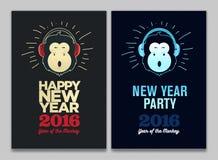 新年快乐2016年飞行物、横幅或者小册子 与耳机的滑稽的猴子 伊芙党庆祝模板 库存例证
