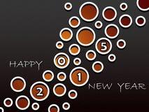新年快乐2015年,与抽象孔的贺卡设计 免版税库存照片