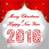 新年快乐2016年,与金黄文本的庆祝概念在美好的焕发夜 皇族释放例证