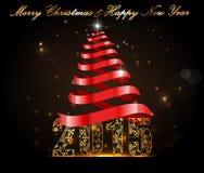 新年快乐2015年,与金黄文本的庆祝概念 皇族释放例证