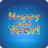 新年快乐!3d快乐的多彩多姿的梯度信件 切开本文 库存照片