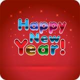 新年快乐!3d快乐的多彩多姿的梯度信件 切开本文 免版税库存照片