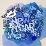 新年手字法和乱画元素 免版税库存图片