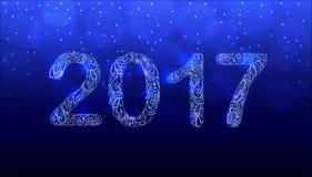 新年2017手拉的传染媒介 装饰品数字 免版税库存图片