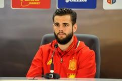 新闻招待会berfore罗马尼亚-西班牙友好的足球比赛 免版税图库摄影