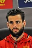 新闻招待会berfore罗马尼亚-西班牙友好的足球比赛 免版税库存图片