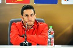 新闻招待会berfore罗马尼亚-西班牙友好的足球比赛 免版税库存照片