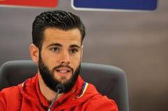 新闻招待会berfore罗马尼亚-西班牙友好的足球比赛 库存照片