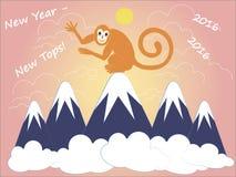 新年-新的上面, 2016年 2007个看板卡招呼的新年好 红色猴子坐在蓝色积雪覆盖的山顶部 库存图片