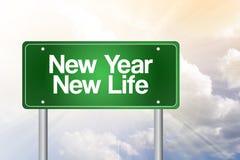 新年新的生活绿色路标 向量例证