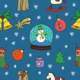 新年无缝的样式 新年好 节日快乐冬天 快活的圣诞节 手拉的乱画例证 图库摄影
