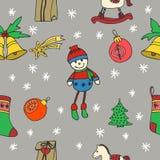 新年无缝的样式 新年好 节日快乐冬天 快活的圣诞节 手拉的乱画例证 库存照片