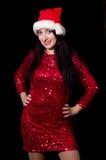 新年晚会的俏丽的妇女 免版税图库摄影