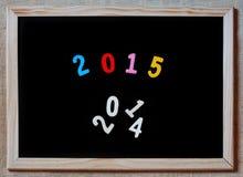新年2015年替换2014年在黑板的概念 库存图片