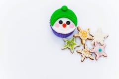 新年杯形蛋糕 免版税库存图片