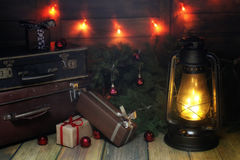 新年结构的圣诞树分支装饰了wi 库存照片