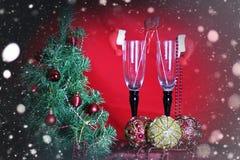 新年树装饰玻璃 图库摄影