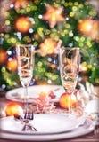 新年桌设置 免版税库存图片