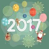 新年2017气球和烟花 免版税库存照片