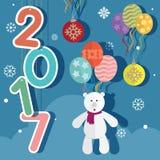 新年2017气球和玩具熊 免版税库存图片