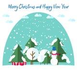 新年的和圣诞卡 在雪的冷杉木在穿围巾,雪, giftsunder的雪人旁边圣诞树 库存图片