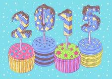 新年的杯形蛋糕 免版税库存图片