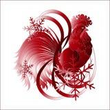 新年的标志-雄鸡和雪花 免版税图库摄影