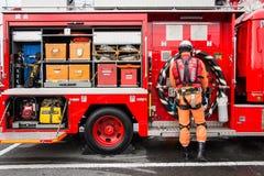 新年的火回顾神奈川,日本 免版税库存照片