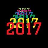 新年的2017个五颜六色的数字在黑背景的 库存照片