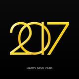 新年的2017个数字在黑梯度背景的 免版税图库摄影