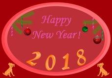 新年2018红色背景绿色球圣诞树分支 免版税库存照片