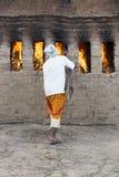 新闻纪录片的社论手工制造砖在印度 免版税库存照片