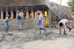 新闻纪录片的社论手工制造砖在印度 免版税图库摄影