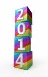新年2014色的立方体 库存照片
