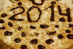 新年蛋糕2014年 免版税库存照片