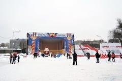 新年装饰在高尔基公园在莫斯科 免版税库存图片