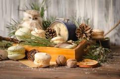 新年装饰用蛋白杏仁饼干,葡萄酒闹钟,猫头鹰之子a 免版税图库摄影